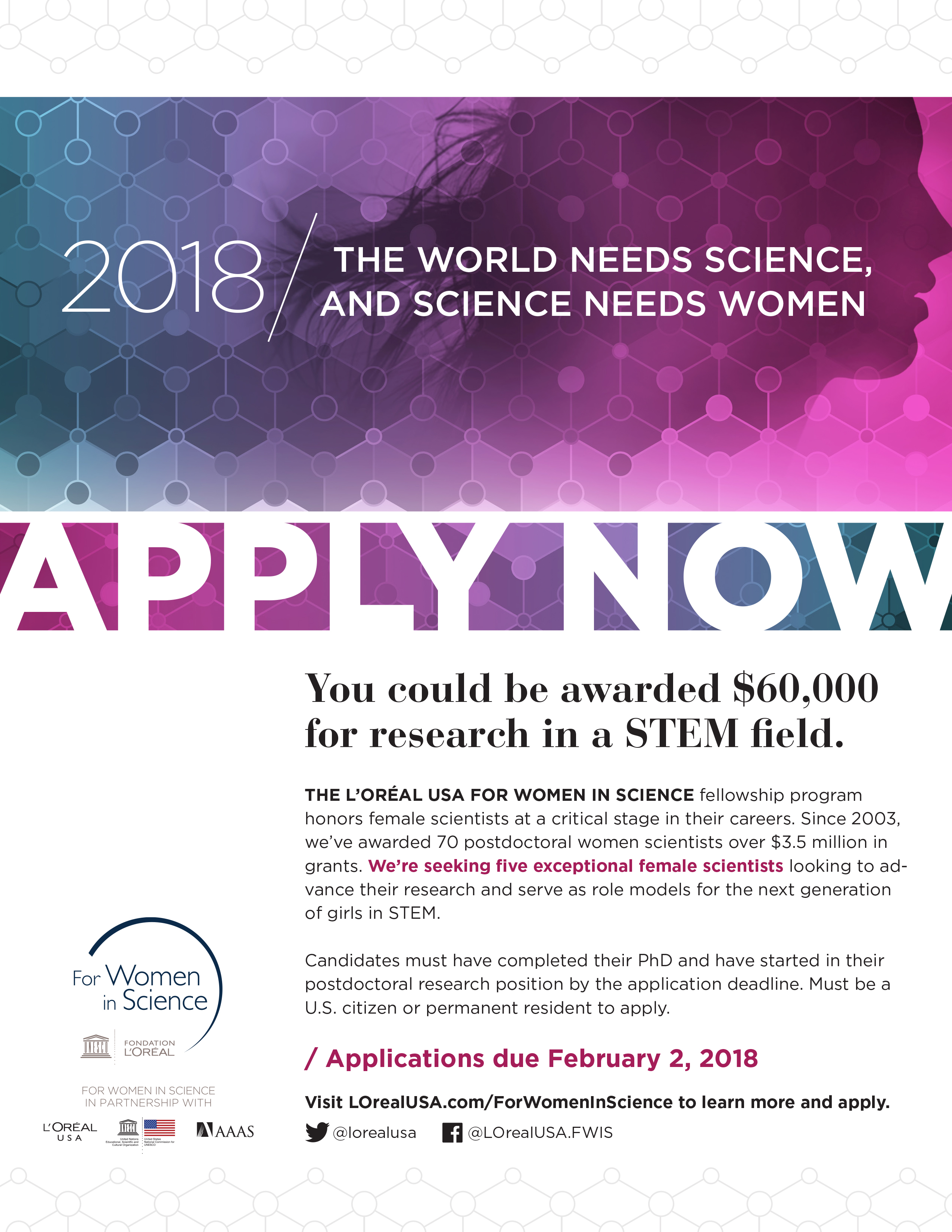 L'Oréal USA For Women in Science Fellowship Program | Center